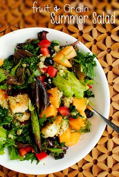 Fruit & Grain Summer Salad. Fresh fruits & berries combined with sauteed shrimp & quinoa. Light and refreshing! #dinner #salad
