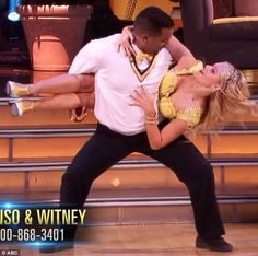 She's done this before: Witney made it look easy as she clambered over the beefy actor