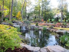 Swimming pools and other deep water features can pose a threat to the safety of unsupervised children but this mini rock quarry design from Kane Landscaping incorporates a waterfall and pond into the natural environment with an emphasis on shallow water. Despite appearances, the pond is only two to three inches deep and an ideal space to float boats, skim rocks or feed goldfish