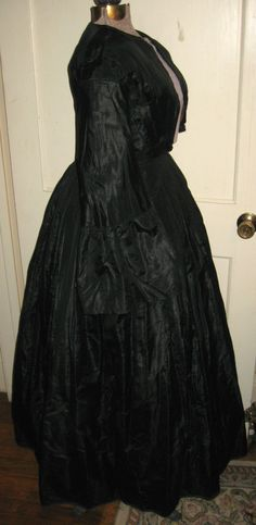 """Antique Civil War Era Black Silk Hand Sewn Dress Mourning Dress for Study 