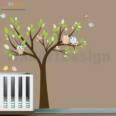 Nursery Wall Decals  Tree with Owls Birds Vinyl by wallartdesign, $99.00