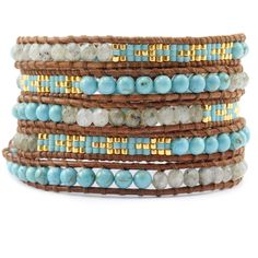 Labradorite Turquoise with Mixed Seed Beaded Wrap Bracelet - Artisan Bohemian Chic Style