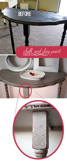 #CeceCaldwell Chalk and Clay Paint #DIY  Table Makeover @savedbyloves @CeCe Caldwell @Bungalow 47