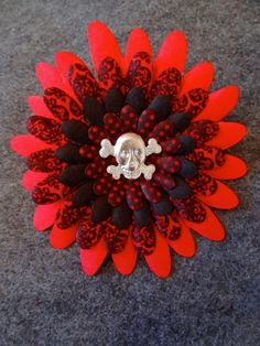 Skull Hair Flower Clip with Red and Black Damask by PrimAndGrim, $8.00