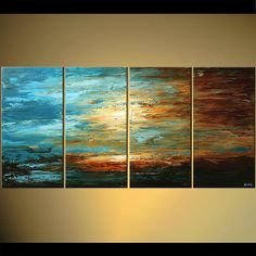 """Modern 60""""  Blue Brown Landscape Abstract Palette Knife Acrylic Painting by Osnat - MADE-TO-ORDER on Etsy, $1,399.00"""