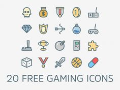 20 Free Flat Gaming Icons Icons AI Flat Free Games Gaming Graphic Design Icon PSD Resource Vector