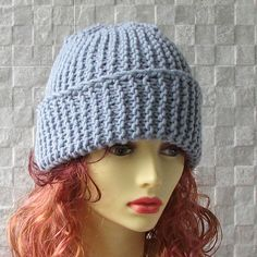 Hand Knitted Winter Hat Grey Slouch For Women  by AlbadoFashion