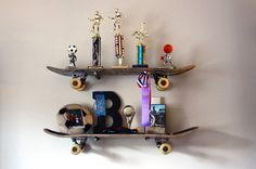 """We've seen skateboards transformed into everything from belt buckles to guitars. But when we spotted this rad shelving setup made from trashed skateboard decks, we just had to get a closer look. Blogger Brook Wilhelmsen of Being Brook devised the concept to please her 10-year-old, who is """"totall…"""