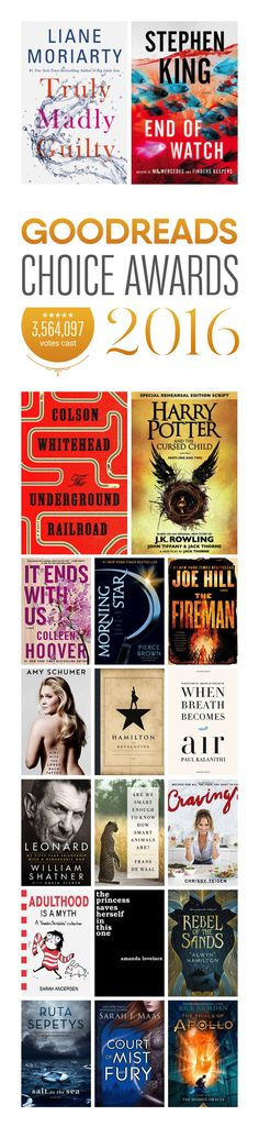 Best books of 2016 selected by readers! Goodreads Choice Awards