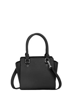 """Black, vegan leather mini satchel that can be worn crossbody with the strap.Perfect for a night out! Features prongs on the bottom for protection.    Measures:8"""" H x 7"""" H x 3"""" W   Mini Crossbody Stachel by BCBGeneration. Bags - Satchel Bags - Cross Body Missouri"""