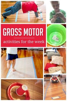 Sample Weekly Plan of Gross Motor Activities A week of simple gross motor activities to do with the kids!A week of simple gross motor activities to do with the kids! Motor Skills Activities, Movement Activities, Gross Motor Skills, Indoor Activities, Learning Activities, Preschool Activities, Physical Activities, Therapy Activities, Pediatric Physical Therapy