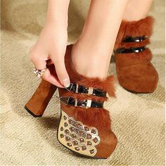 Womens Boots | Exquisite Suede Buckle Brown Round Closed Toe Chunky Super High Heel Boots - Hugshoes.com