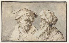 Jan Moninckx | Twee hoofden van Oosterlingen, Jan Moninckx, 1600 - 1699 | Twee mannenhoofden, beiden met baard. Het linkerhoofd is gedekt met een platte hoed met twee veren, het rechter draagt een tulband.
