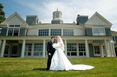 A wedding snapshot in the sunshine -- in front of the Alumni Center on UConn's Storrs campus.