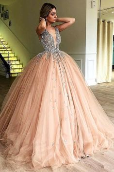 Unique Ball Gown V Neck Sleeveless Beading Tulle Prom Dresses, Quinceanera Dress. - Unique Ball Gown V Neck Sleeveless Beading Tulle Prom Dresses, Quinceanera Dress on sale – PromDress.uk Source by - Elegant Dresses, Pretty Dresses, Beautiful Dresses, Formal Dresses, Wedding Dresses, Split Prom Dresses, Wedding Outfits, Casual Dresses, Casual Outfits