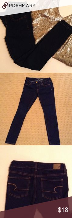 American Eagle Outfitters jeggings Girls night out? Add this to your outfit. Dark blue, almost black, jeggings at size two short. Super stretchy makes them easy to drop it low on the dance floor. American Eagle Outfitters Jeans Skinny