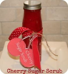 Cherry Sugar Scrub: Cherry Sugar Scrub Recipe  Mix Together {this recipe makes about 1 1/2 cups prepared} ◾1 cup white sugar ◾1/2 cup olive oil (or canola oil will work fine!), plus 1 TBS ◾2-3 drops of cherry aromatherapy oil ◾approximately 10 drops of red soap colorant (I purchased a pack of 4 colors at Michaels for $4.00)