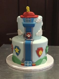 Paw patrol tower Cake Donut Birthday Parties, 3rd Birthday Cakes, 4th Birthday, Paw Patrol Birthday Cake, Paw Patrol Party, Paw Patrol Tower, Cake Disney, Happy Birthday To Ya, Torta Paw Patrol