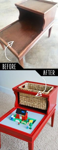 Easy DIY lego table with storage! -- Easy DIY furniture makeovers and ideas! A lot of repurposed thr Diy Furniture Hacks, Furniture Projects, Kids Furniture, Furniture Making, Furniture Makeover, Chair Makeover, Painting Furniture, Diy Painting, Wood Projects