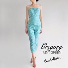 Gregory Jumpsuit Material: jacquard Length of skirt: 80cm (from waist) Colors available: baby pink, yellow, mint green Full lining, boning, cup bra contact us for order  Wa: +6285322233332 Line: christinerwin Email: enzocollezioni@hotmail.com