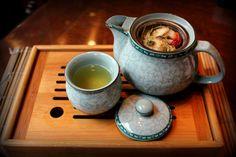 Les fleurs avec thé
