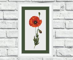 Counted cross stitch pattern of a poppy by CrossStitchObsession