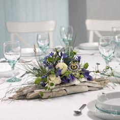 Purples, whites and greens wood arrangement Deco Floral, Arte Floral, Floral Design, Beach Wedding Centerpieces, Floral Centerpieces, Centrepieces, Beach Flowers, Silk Flowers, Driftwood Centerpiece