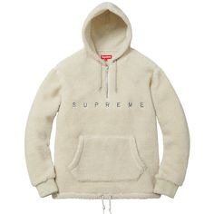 Supreme Sherpa Fleece Pullover ❤ liked on Polyvore featuring tops, sweaters, white pullover sweater, white sweater, white top, pullover sweater and sherpa sweater