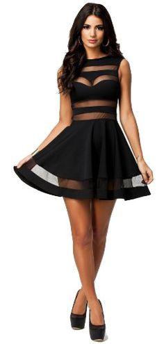 Mesh See-Through Sheer Block Skater Sleeveless Mini Dress on hotgirlsclothes.com