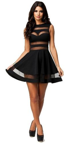 made2envy Mesh See Through Sheer Block Skater Sleeveless Mini Dress - List price: $49.99 Price: $30.00