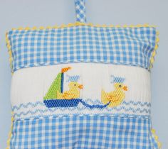 Smocked Sailing Ducks Girls Musical Pillow - Musical Pillows - Accessories