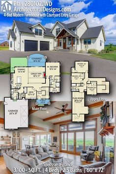 Take a peek at our 4-Bedroom Modern Farmhouse House Plan #280102JWD⠀ 📐 3,160  Square Feet  🛏 4  Beds  🛁 2.5 Baths  🚗 2-Car Garage 📏 60' Wide x 72' Deep ❕ Large Flex Space above the garage (included in total SqFt!)! #adhouseplans #farmhouse #dreamhouse #farmhouseliving #houseplans #southernliving #floorplans #housedesign #housedesigns #farmhouse #houseplans #interiordesign #homedesign