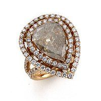 SoHo Boutique 18K Rose Gold Size 6 Pear Cut Gray Rough & White Diamond Ring ShopNBC.com