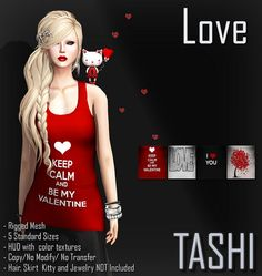 ╔═.♥.══════════╗ Valentine Dollarbie ╚══════════.♥.═╝  - Rigged Mesh - 5 Standard Sizes - HUD with color texture - Copy/No Modify/No Transfer - Hair, Skirt, Kitty and Jewelry NOT Included  Available at: https://marketplace.secondlife.com/p/TASHI-Love-Valentine-Dollarbie/6844415  For questions please contact Shinya Tandino  Pic by: Coqueta Veeper (coqueta.georgia)  Model: Judelin Kluge Vorgrimler (judelin)