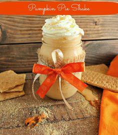 Pumpkin Pie Protein Shake: INGREDIENTS 1 cup unsweetened vanilla almond milk, or milk of choice 1 frozen banana (cut up in coins and frozen) 1/2 cup pumpkin puree 3 tbsp. vanilla protein powder 1 (6 ounce) vanilla yogurt, I used Yoplait light 1/2 tsp. pumpkin pie spice 1/2 tsp. truvia, or sub sweetener of choice 1/4 tsp. vanilla extract 1 cup ice