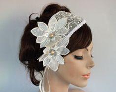 Ivory Cream Bridal Bandeau, Cap Weddings Cocktail Hat, Organza Flower Bridal Hair Fascinator -  Head Piece Handmade and OOAK