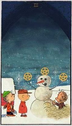 Three of Pentacles: Tarot Card for Present:  The object of your present focus is due for expansion and elaboration. Your peers may be a useful tool to help you complete your goals.  Source: Peanuts Tarot