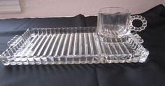 Hazel Atlas Luncheon Plate Cup Boopie Glass 4 Vintage Snack Sip & Smoke Sets
