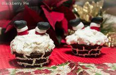 Cupcakes natalizi: Ops! Babbo Natale è rimasto incastrato! - Blackberry Pie