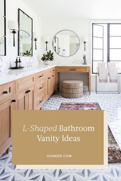L-shaped bathroom vanities offer the promise of separate and distinct spaces to wash and groom, even a place to sit. With a view. Below, seven L-shaped bathroom vanity ideas that are pretty enough to pin. Black Bathroom Sets, Yellow Bathroom Decor, Kid Bathroom Decor, Yellow Bathrooms, Small Bathroom, Chic Bathrooms, Basement Bathroom, Master Bathroom Vanity, Bathroom Vanities