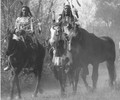 Crow men leading a gift horse, early 20th century. Detail from a Throssel photo, Univ of Wyoming