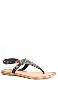 4c3405cc8897 Womens Sandals   Flip-Flops. Diba True Shoes Red Row Beaded Leather Sandals  in Black ...