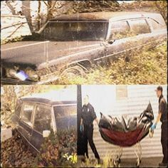 An abandoned hearse found with a partially mummified unidentified corpse inside a casket in Princeton, Indiana (date unknown)