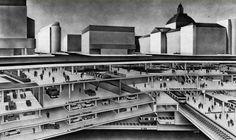 München, Stachus, Karlsplatz, 1967 Systemschnitt durch den unterirdischen Neubau mit seiner Einkaufspassage unter der Kreuzung als Erschließung für die tiefer liegenden S- und U-Bahn Bahnhöfe.