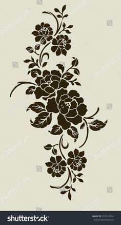 Rose Stencil, Stencil Painting, Fabric Painting, Floral Embroidery Patterns, Hand Embroidery Designs, Stencil Patterns, Stencil Designs, Motifs Islamiques, Art Nouveau Pattern