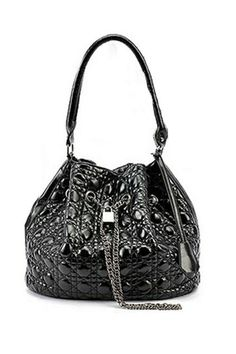 The shoulder bag crafted in PU, featuring exquisite check detail with black main, metal drawstring closure with lock detail and chains tasse...