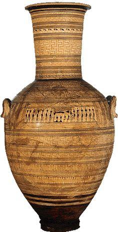 Geometric amphora by the Dipylon Painter. Ancient Greek Art, Ancient Greece, Greek History, Art History, Archaic Greece, Objets Antiques, Greek Paintings, Mycenae, Greek Pottery