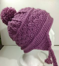 Purple Hat Crochet Hat Crochet Beanie Earflap Hat Toddler