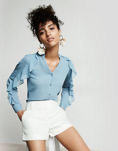 slim fit ruffle sleeve portofino shirt