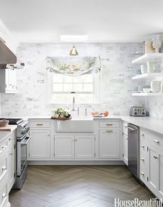 white cabinets, herringbone floor  = that's the feel, but I want modern shiny white uppers and grey lowers